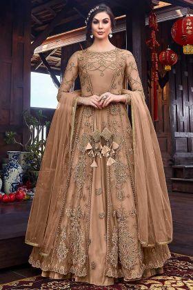 Designer Indo Western Dress Beige Color With Net Jacket