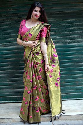 Designer Kanjivaram Silk Mehendi Color Festive Saree