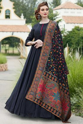 Designer Killer Silk Black Gown With Handwork