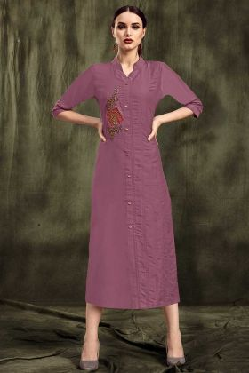 Designer Kurti In Muslin Light Purple Color