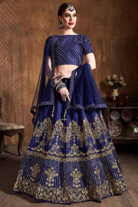 Designer Lehenga In Coding Embroidery Royal Blue Color