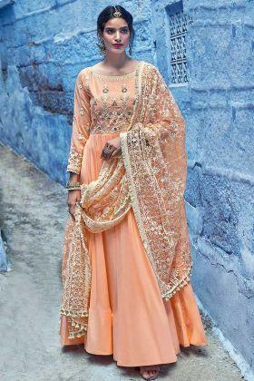 Designer Light Orange Stitched Anarkali Dress In Pure Maslin