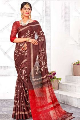 Designer Linen Silk Brown Color Saree