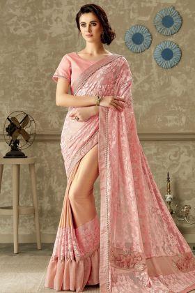 Designer Lycra and Fancy Net Pink Saree