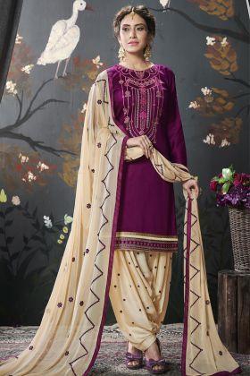 Designer Magenta Pink Cotton Silk Patiala Suit