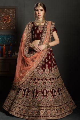 Designer Maroon Bridal Lehenga Choli