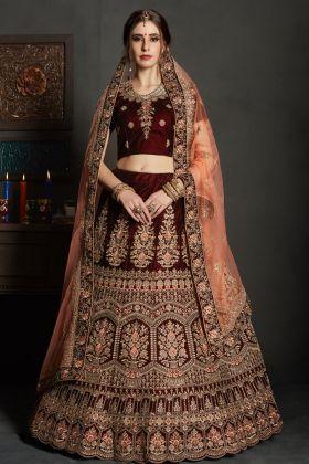 Designer Maroon Velvet Lehenga Choli