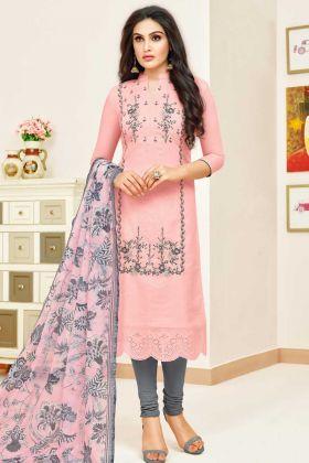 Designer Modal Silk Casual Salwar Suit Baby Pink Color