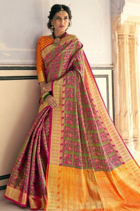Designer Multi Color Banarasi Saree