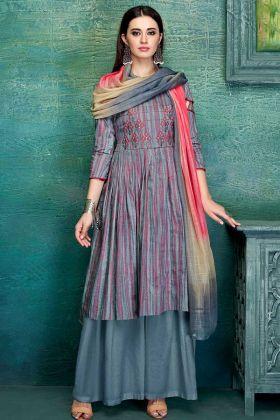 Designer Office Wear Multi Color Pure Jam Satin Palazzo Dress