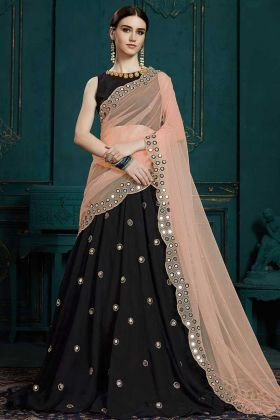 Designer Party Wear Georgette Lehenga Choli Black Color