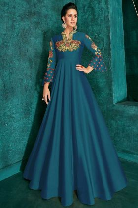 Designer Party Wear Gown Teal Blue Color Triva Silk