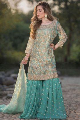 Designer Party Wear Heavy Net Sharara Suit Rama Color