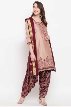 Designer Party Wear Jam Silk Cotton Maroon Punjabi Suit Design