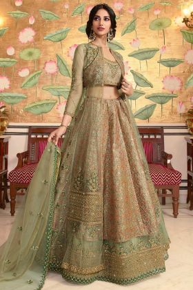 Designer Party Wear Lehenga Choli Jacquard Net Green Color