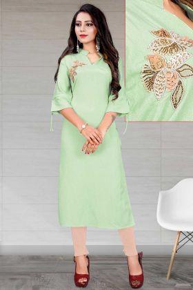 Designer Party Wear Mint Green Heavy Slub Rayon Fancy Kurti