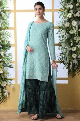 Designer Party Wear Sharara Dress Soft Green Mint Green Color