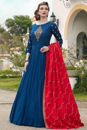 Designer Partywear Killer Silk Blue Gown With Handwork