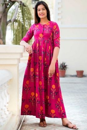 Designer Partywear Printed Pink Pure Muslin Gown