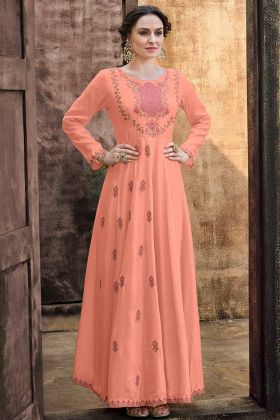 Designer Peach Color Gown Rayon Gold Fabric