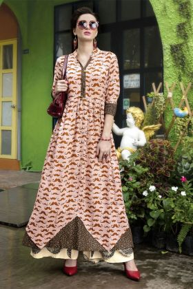 Designer Peach Rayon Printed Kurti Online