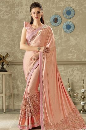 Designer Pink Lycra Party Wear Saree