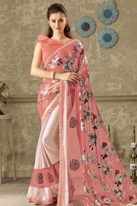 Designer Pink Lycra Saree Online