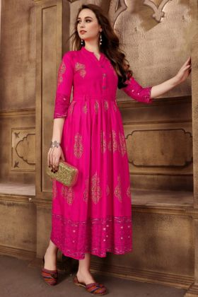 Designer Pink Rayon Party wear Anarkali Kurti