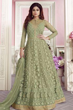 Designer Pista Green Butterfly Net Anarkali Suit