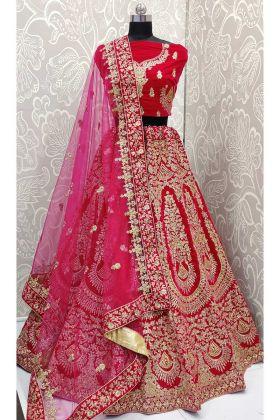 Designer Rani Pink Velvet Designer Wedding Lehenga