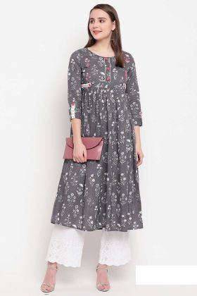 Designer Readymade A-Line Patterned Kurti In Grey Color