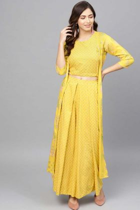 Designer Readymade Indo-Western Yellow With Rayon Jacket