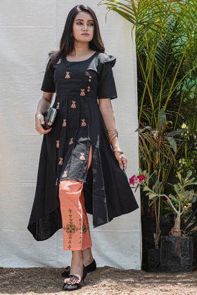 Designer Readymade Khadi Black Kurti
