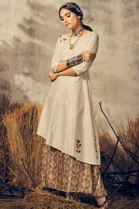 Designer Readymade Long One-Piece Dress Khadi Silk Off White And Grey Color