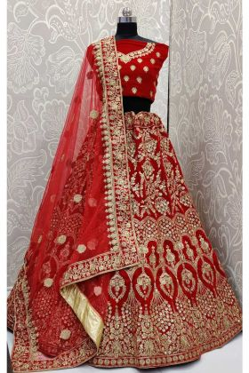 Designer Red Lehenga Design Embroidery Work Velvet With Net Dupatta