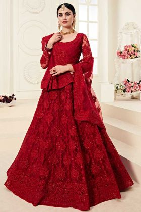 Designer Red Lehenga With Heavy Look and Beautifull Embroidered Work
