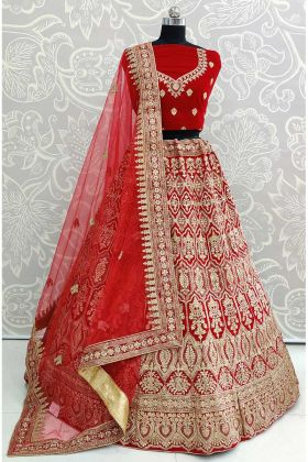 Designer Red Lehenga With Net Dupatta