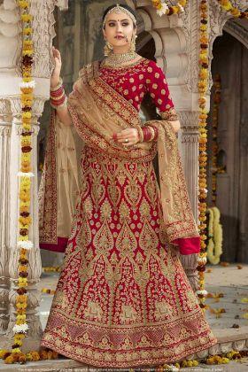 Designer Red Silk Bridal Lehenga Choli
