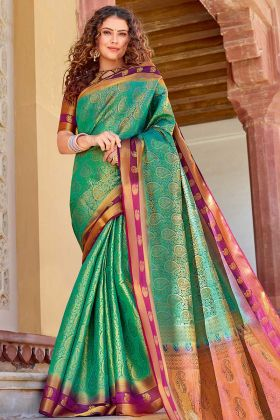 Designer Saree Art Silk Sea Green Color