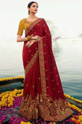 Designer Saree Maroon Vichitra Fabric With Mustard Dupion Blouse