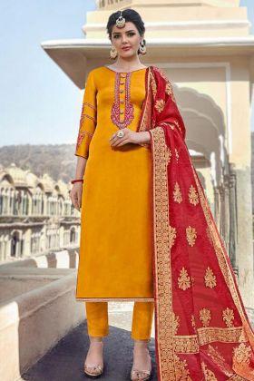 Designer Satin Georgette Salwar Suit