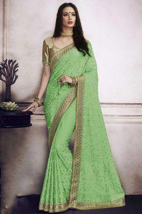 Designer Satin Silk Festival Saree Green Color