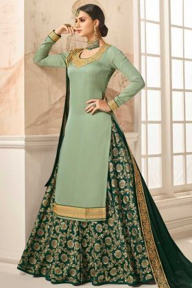 Designer Satin Silk Party Wear Suit Light Green Color