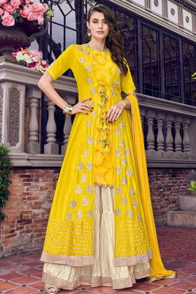 Designer Sharara Dress Yellow And Cream With Embroidered Jacket