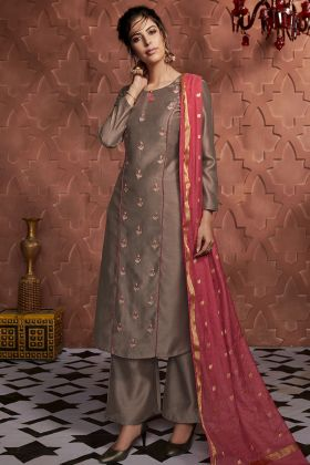 Designer Soft Silk Readymade Palazzo Dress Brown Color