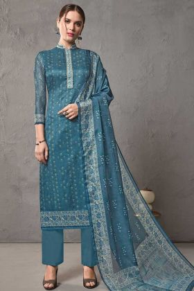 Designer Straight Suit Cotton Silk In Blue Kota Checks Pattern