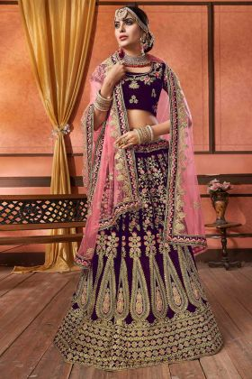 Designer Velvet Bridal Lehenga Choli Purple Color With Embroidery Work