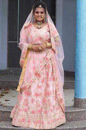 Designer Wedding Flamingo Pink Malai Satin Bridal Lahenga
