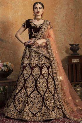 Designer Wedding Red Pure Velvet Bridal Lehenga Choli