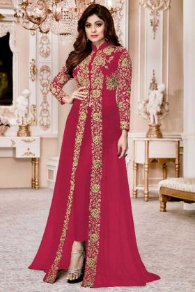 Designer Wedding Suit Georgette In Pink Color Shamita Gold